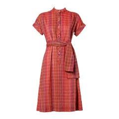 Pierre Balmain Vintage Plaid Dress + Matching Sash