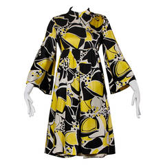 Rodrigues for Milbo 1960s Silk Graphic Print Dress with Bell Sleeves