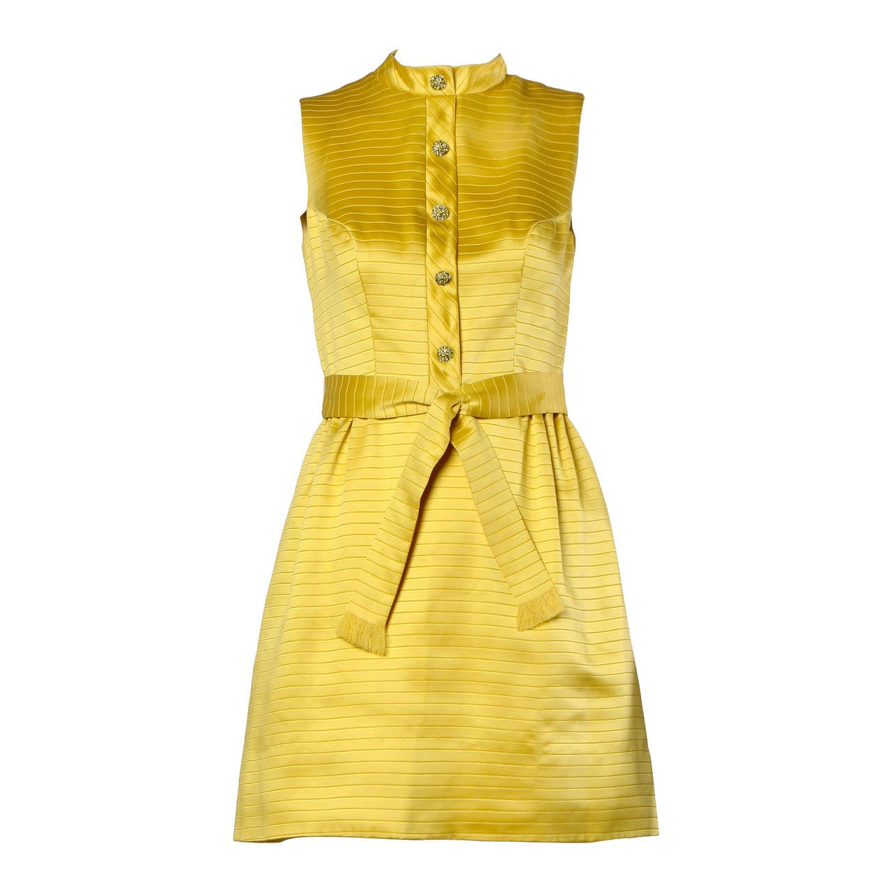 Darling 1960s Vintage Yellow Mini Dress with Rhinestone Buttons For Sale