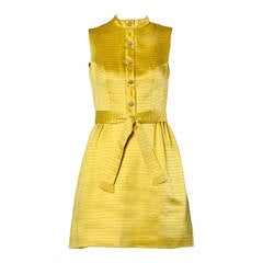 Darling 1960s Vintage Yellow Mini Dress with Rhinestone Buttons