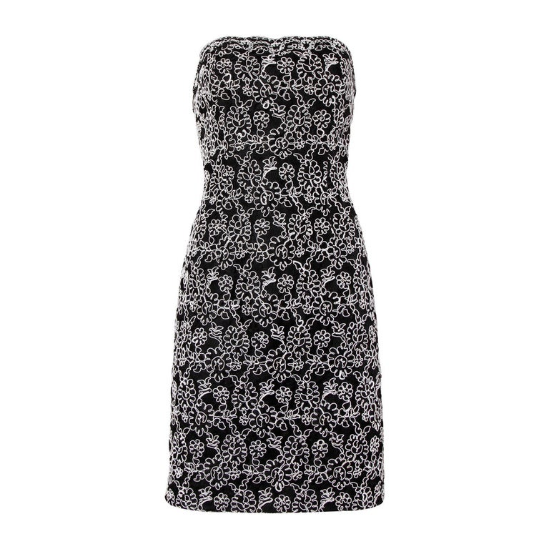 Bill Blass Vintage Black + White Lace Strapless Cocktail Dress For Sale
