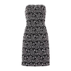 Bill Blass Vintage Black + White Lace Strapless Cocktail Dress