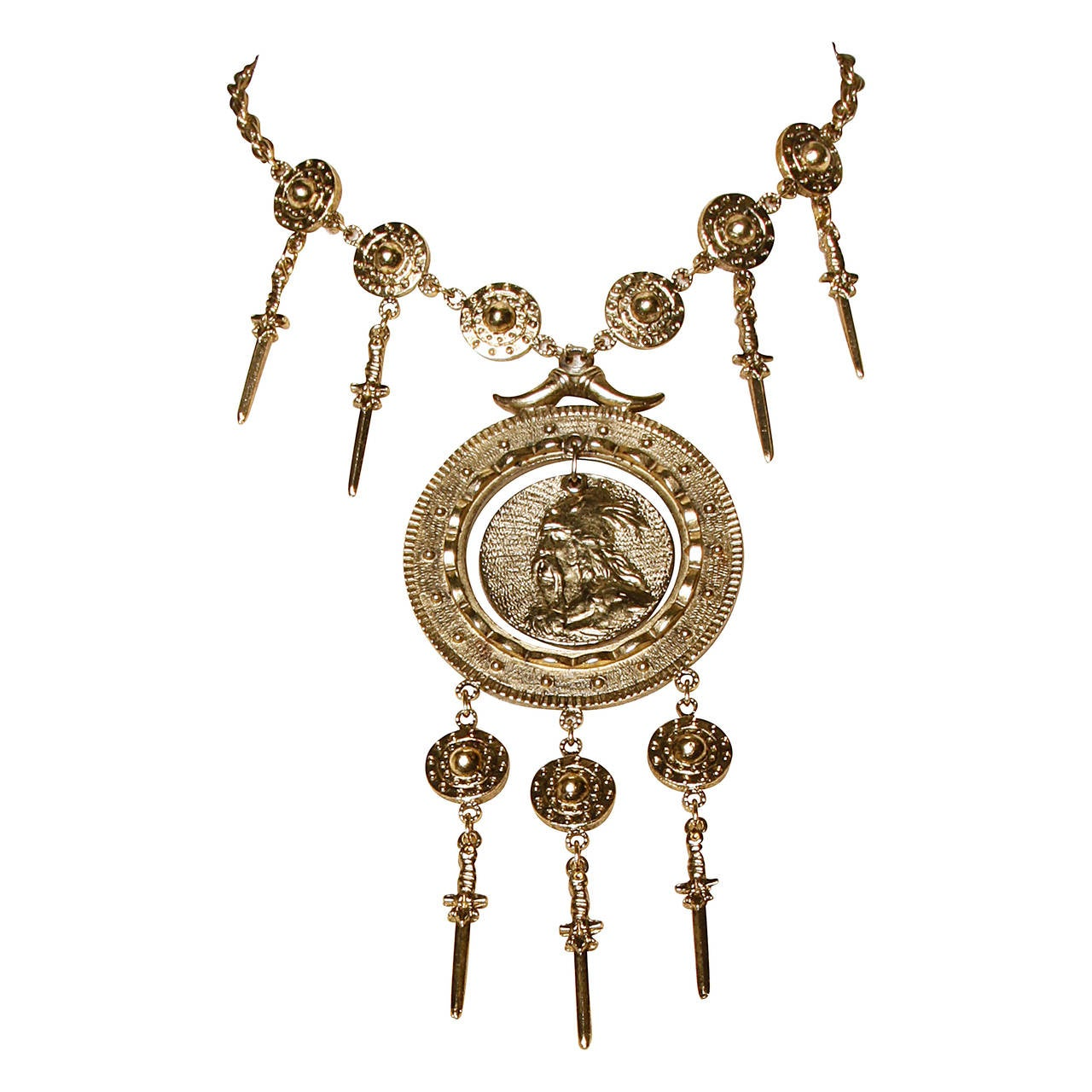 Iconic Signed Trifari 1970s Viking Warrior Necklace with Swords + Shields For Sale