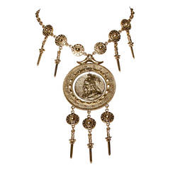 Iconic Signed Trifari 1970s Viking Warrior Necklace with Swords + Shields