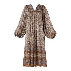 1970s Paper Thin 100% Sheer Silk Indian Hand-Block Print Dress