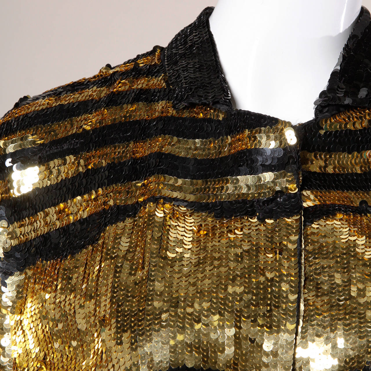 Lillie Rubin Vintage Metallic Gold + Black Sequin Silk Jacket 3