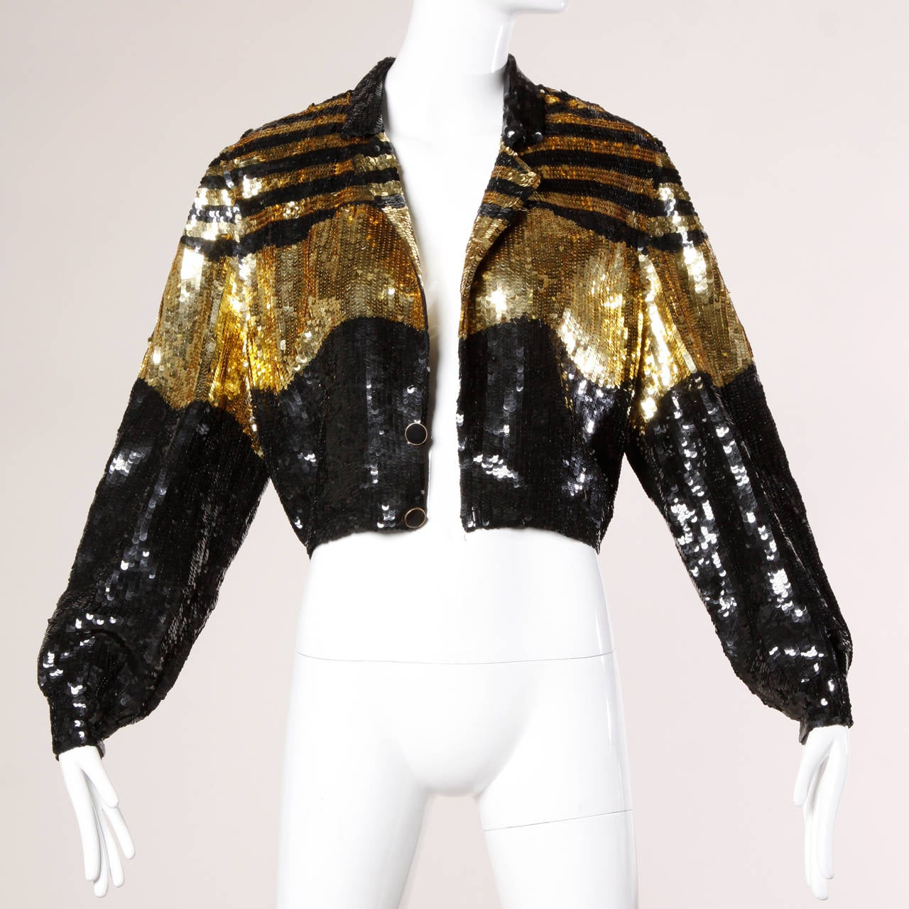Lillie Rubin Vintage Metallic Gold + Black Sequin Silk Jacket 2
