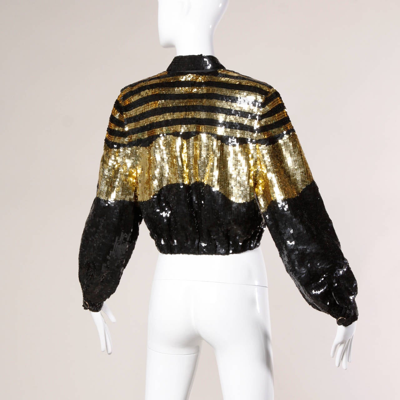 Lillie Rubin Vintage Metallic Gold + Black Sequin Silk Jacket For Sale 1
