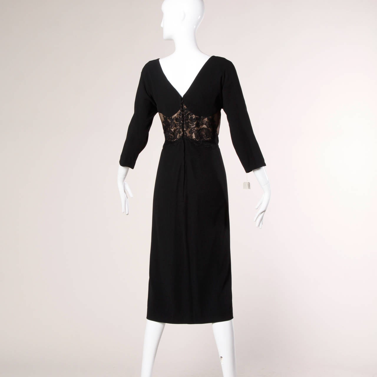 Women's Dorothy O'Hara Vintage Black Lace Cocktail Dress, 1940s  For Sale