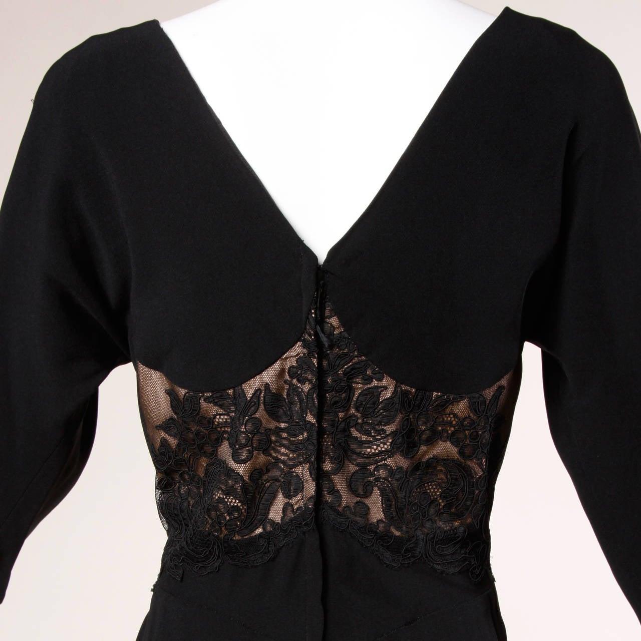 Dorothy O'Hara Vintage Black Lace Cocktail Dress, 1940s  For Sale 1