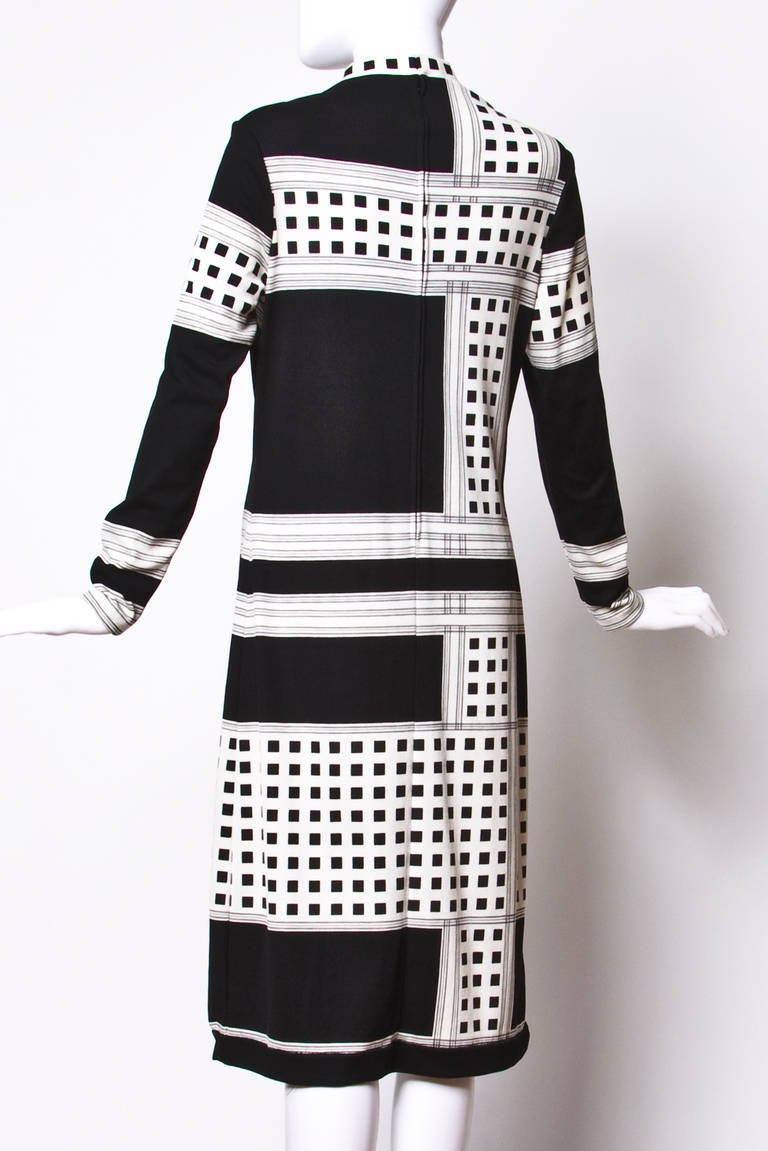 Mr. Dino Signed Black + White Vintage 70s 1970s Op Art Mod Graphic Print Dress 2