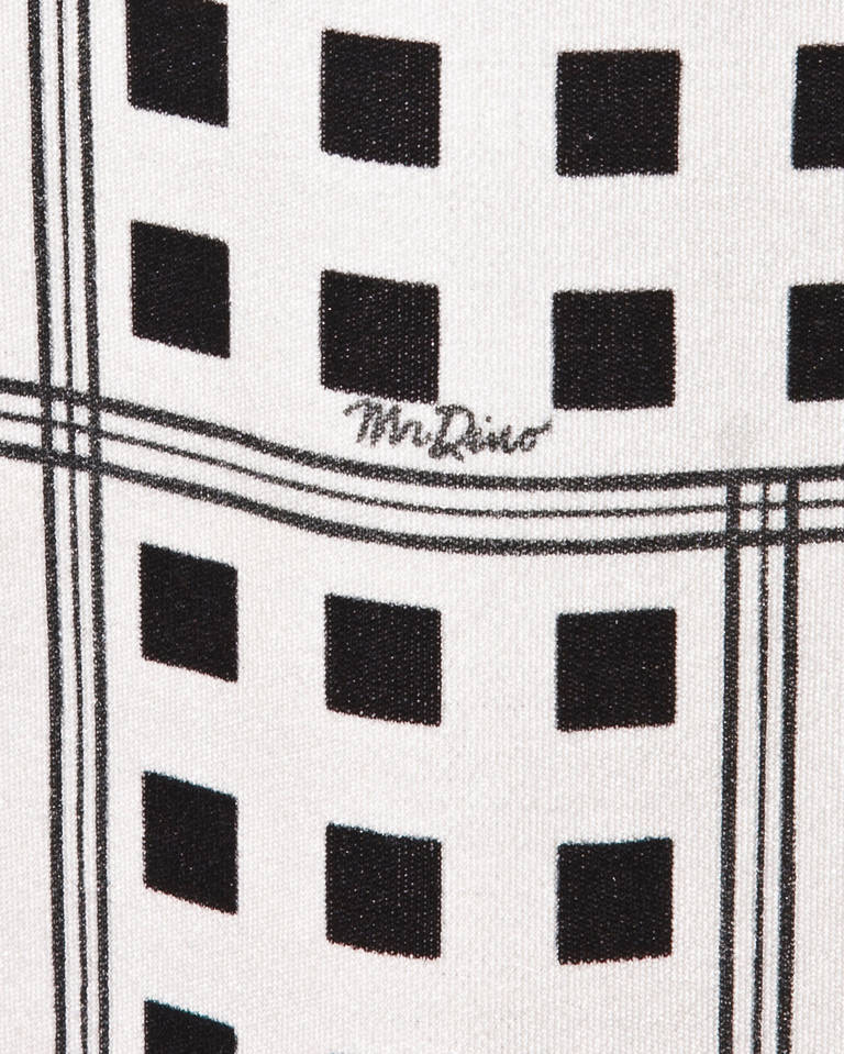 Mr. Dino Signed Black + White Vintage 70s 1970s Op Art Mod Graphic Print Dress 3