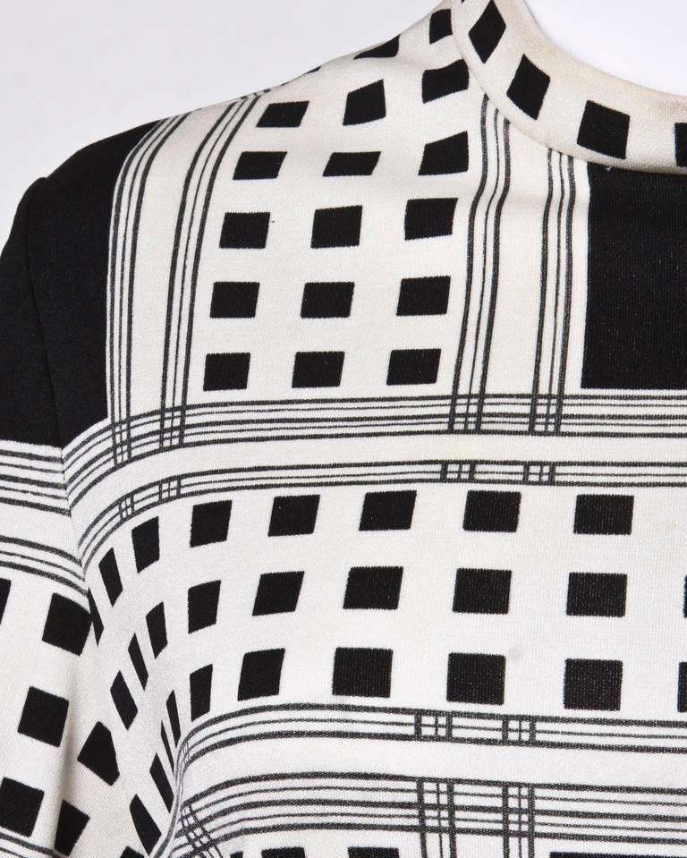 Mr. Dino Signed Black + White Vintage 70s 1970s Op Art Mod Graphic Print Dress 4