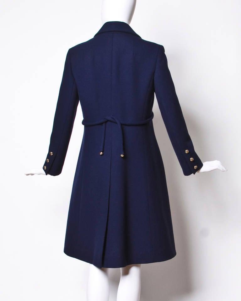 Christian Dior Pristine Vintage 1960s 60s Navy Wool Mod Military Coat 3
