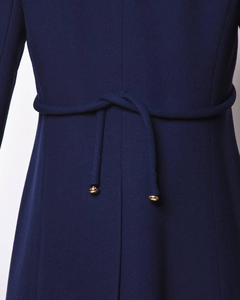 Christian Dior Pristine Vintage 1960s 60s Navy Wool Mod Military Coat 4