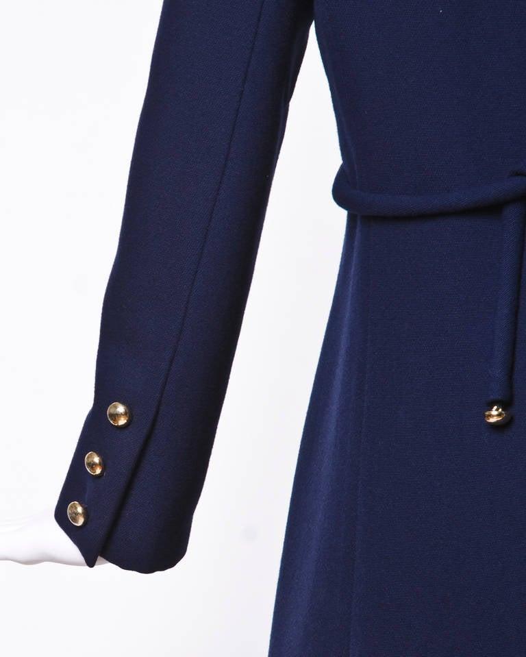 Christian Dior Pristine Vintage 1960s 60s Navy Wool Mod Military Coat 5