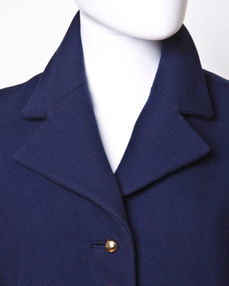 Christian Dior Pristine Vintage 1960s 60s Navy Wool Mod Military Coat 7