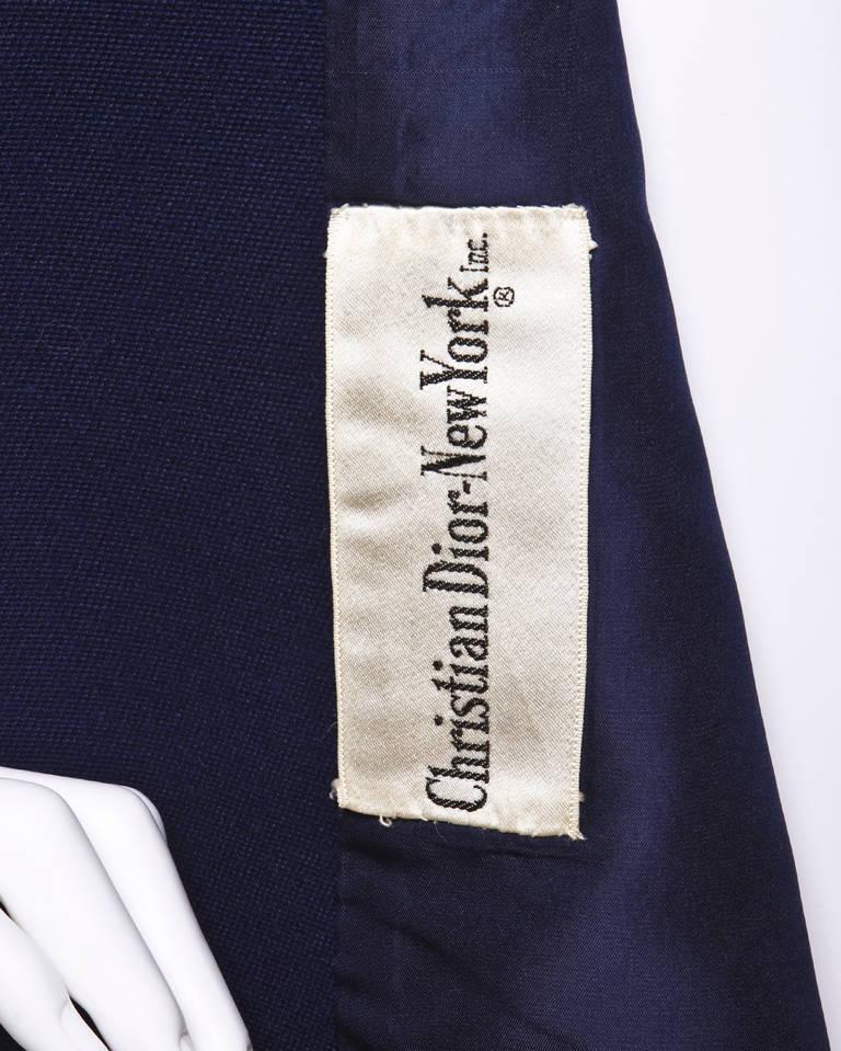 Christian Dior Pristine Vintage 1960s 60s Navy Wool Mod Military Coat 2