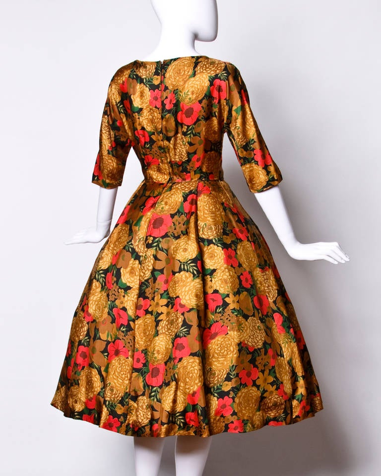 Women's Vintage 1950s 50s Floral Print Silk Full Sweep Cocktail Dress For Sale