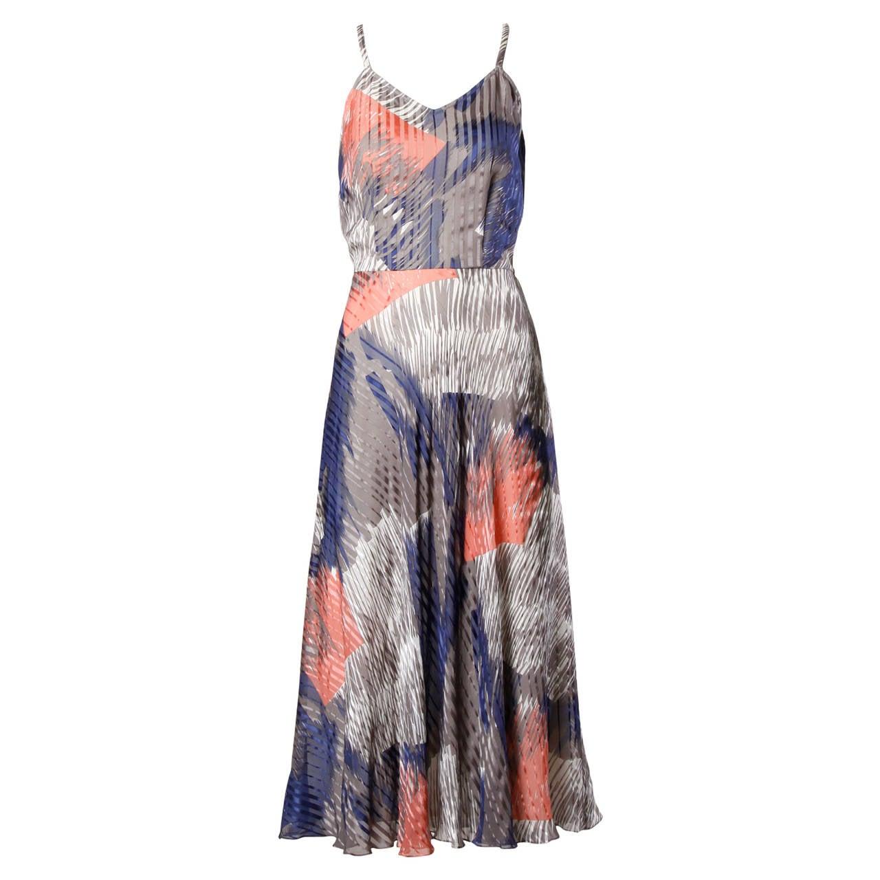 Vintage Sheer Printed Silk Chiffon Dress For Sale