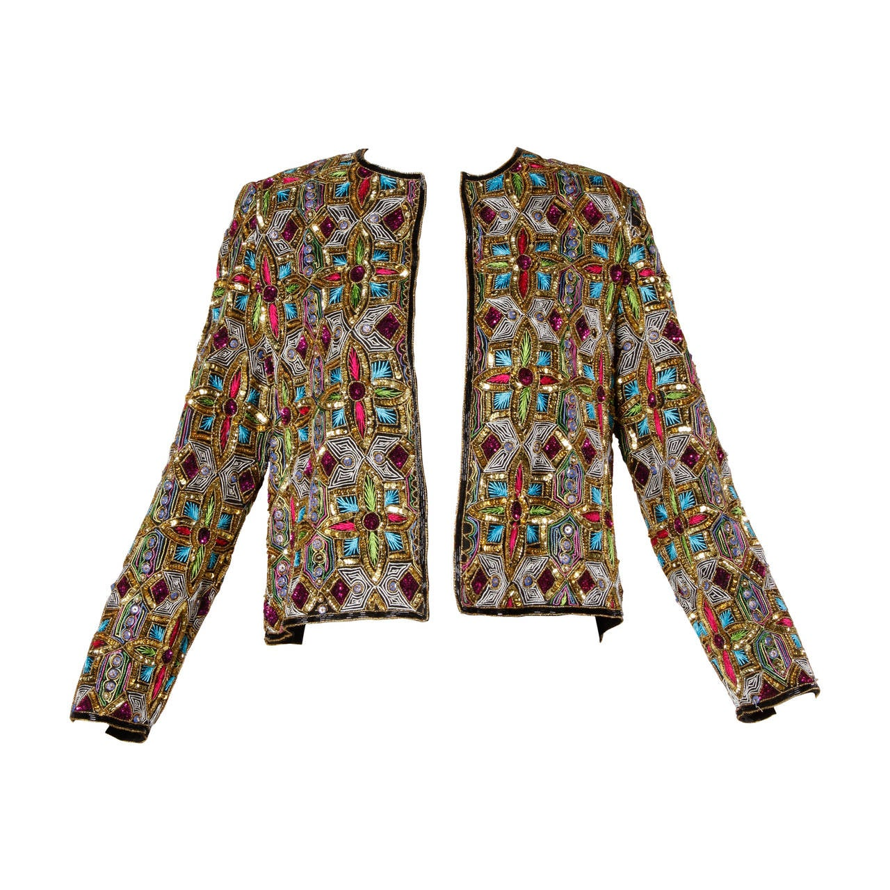 Vintage Stained Glass Sequin + Beaded Trophy Jacket 1