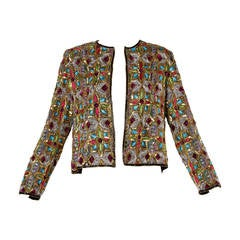 Vintage Stained Glass Sequin + Beaded Trophy Jacket