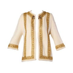 Ethel Beverly Hills 1960s Vintage Wool Cardigan Sweater with Metallic Gold Trim