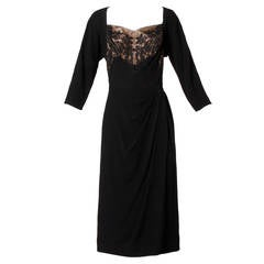Unworn with Tags Dorothy O'Hara Vintage 1940s Black Lace Cocktail Dress