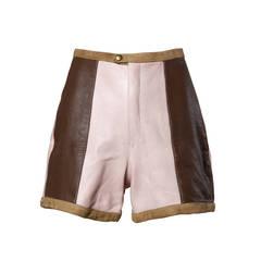 Unworn 1960s Vintage Color Block Leather Shorts in Pink, Brown + Blue
