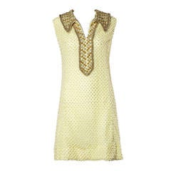 1960s Vintage Heavy Beaded Lace Dress