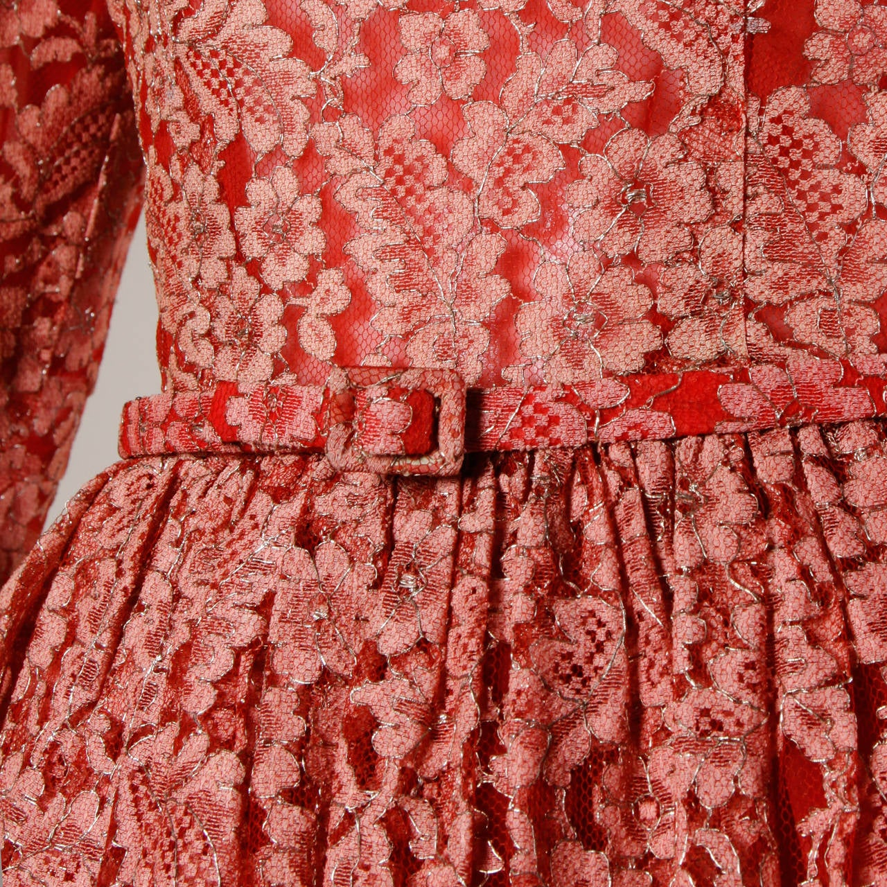 1950s Vintage Red Lace Cocktail Dress with Belt 4