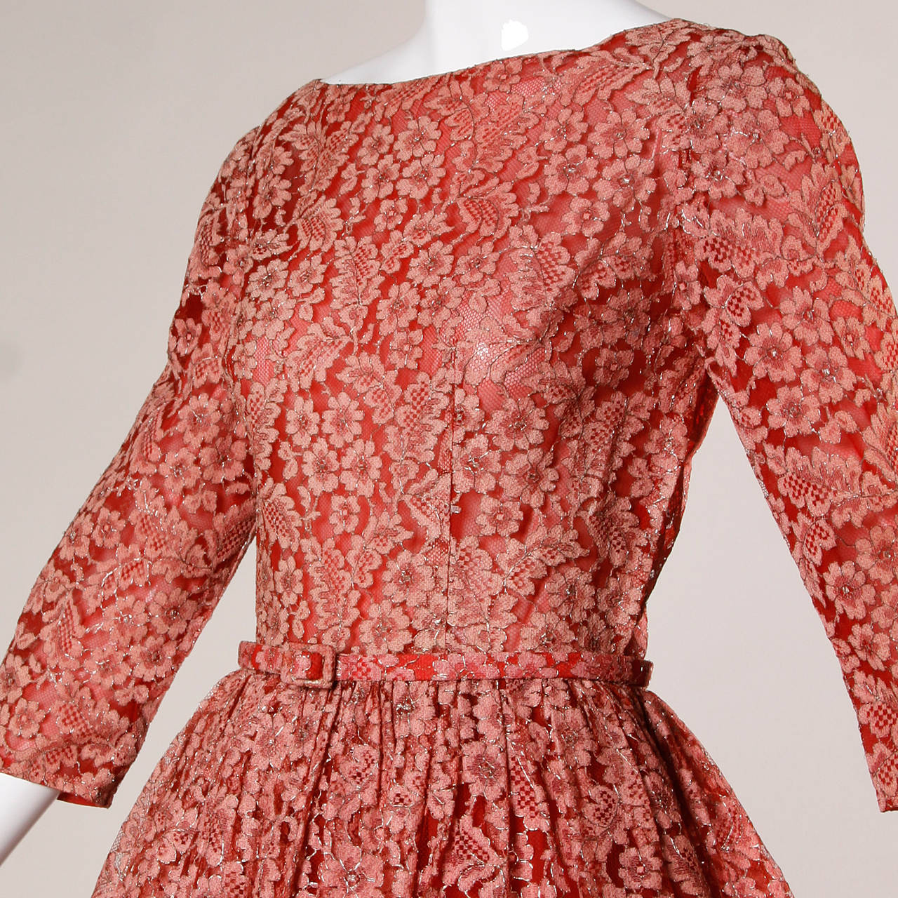 1950s Vintage Red Lace Cocktail Dress with Belt 3