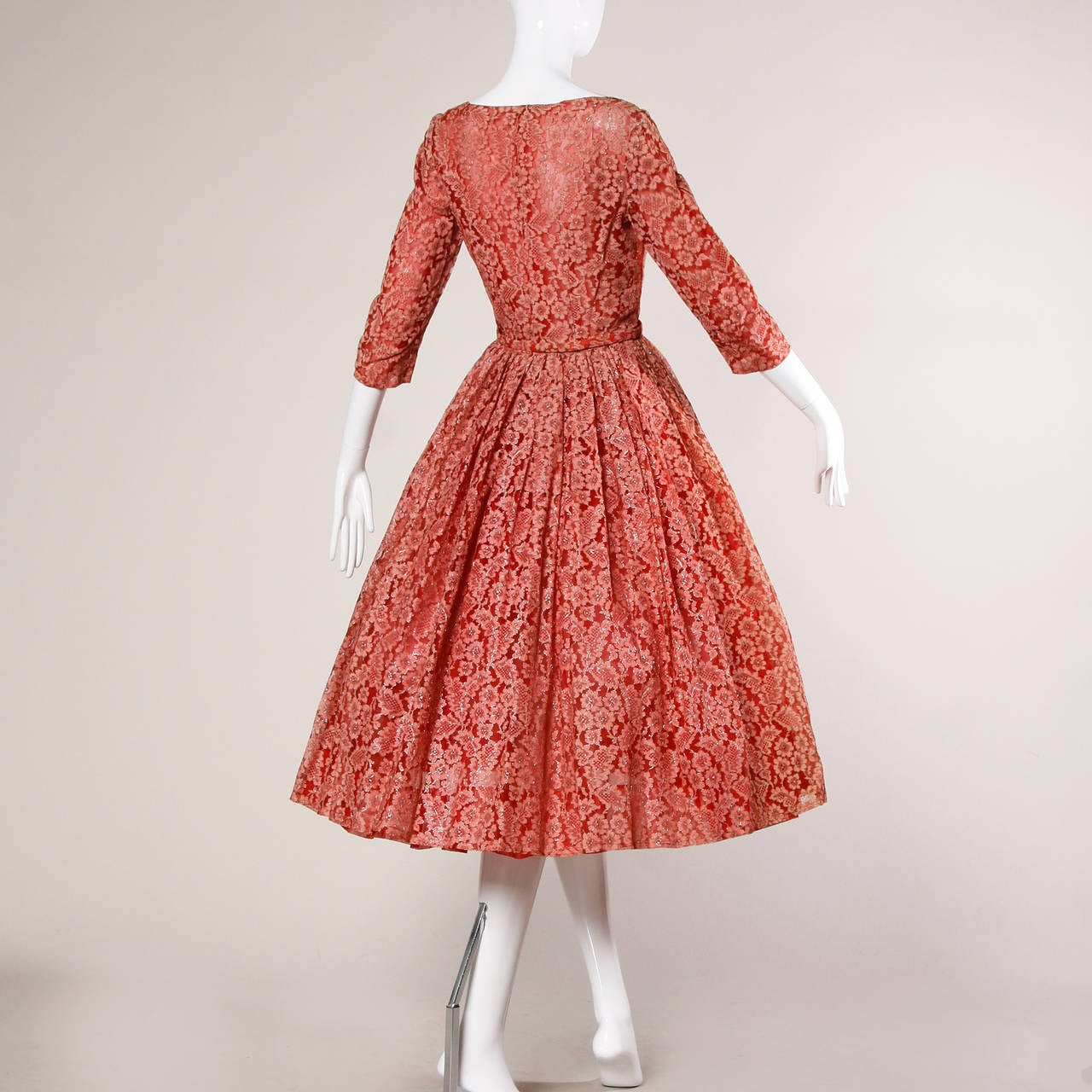 1950s Vintage Red Lace Cocktail Dress with Belt 2