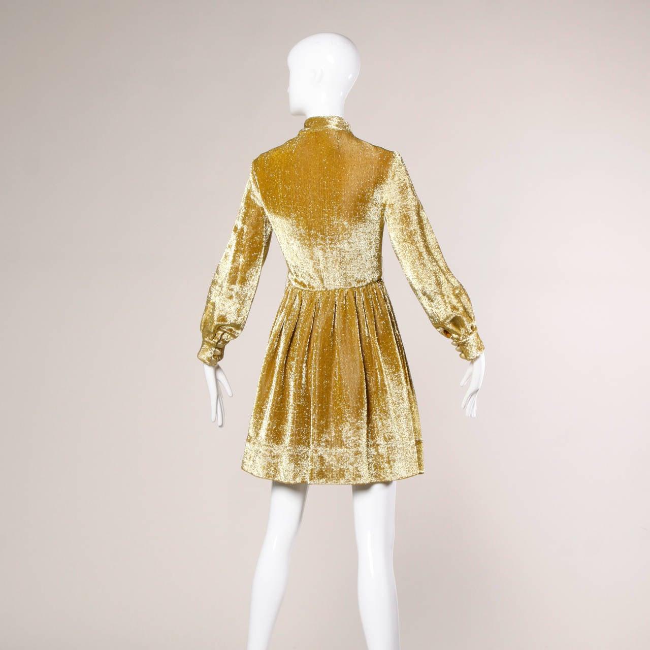 Brown Mr. Mort Vintage 1960s Metallic Gold Lurex Coat Dress For Sale