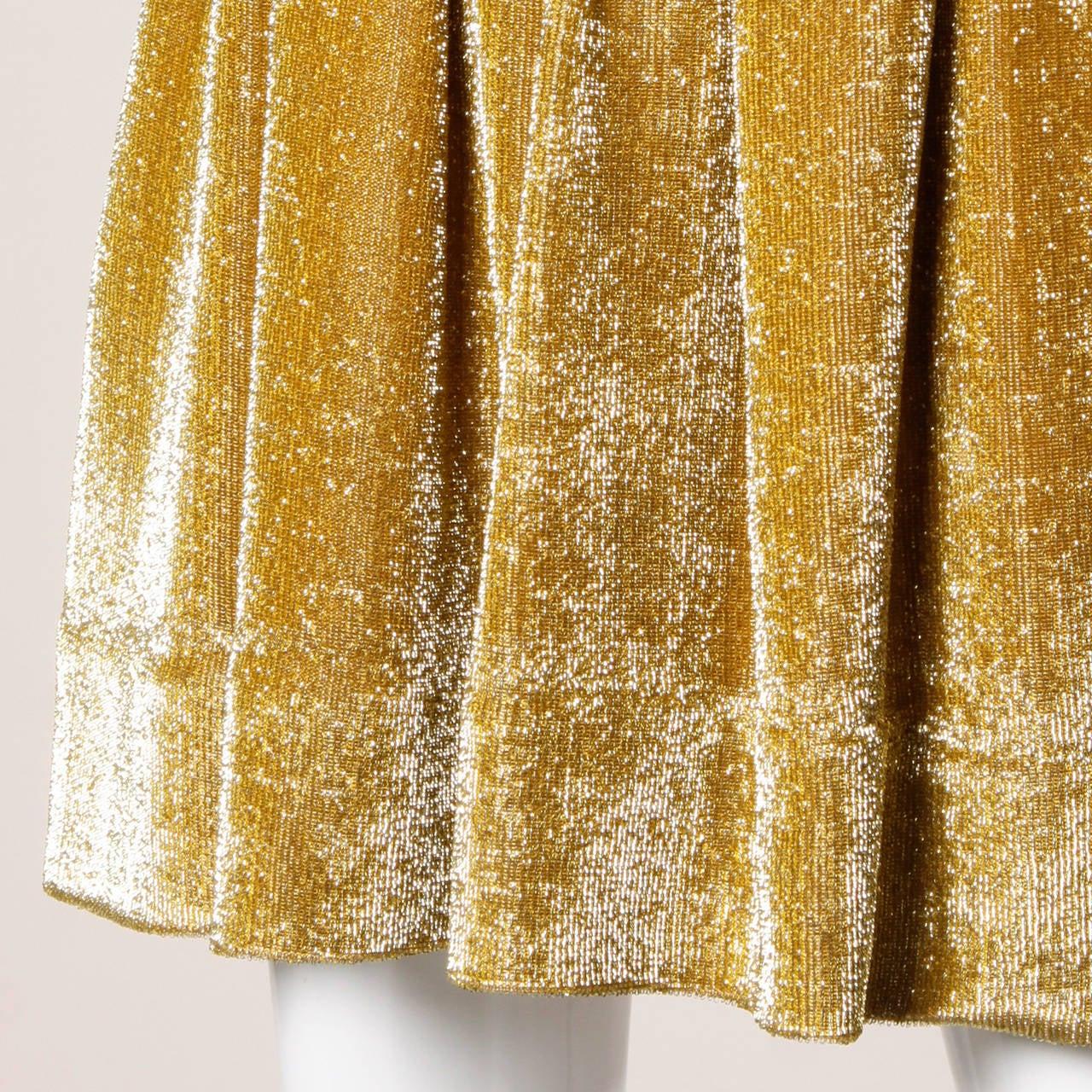 Mr. Mort Vintage 1960s Metallic Gold Lurex Coat Dress For Sale 2