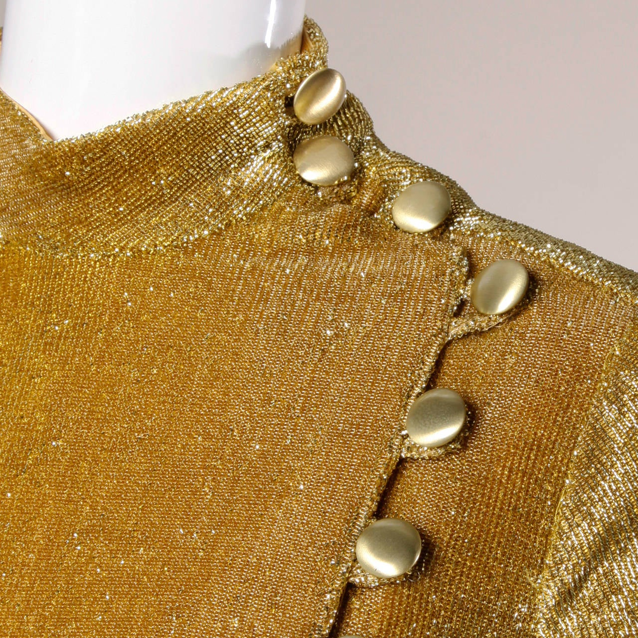 Mr. Mort Vintage 1960s Metallic Gold Lurex Coat Dress 5