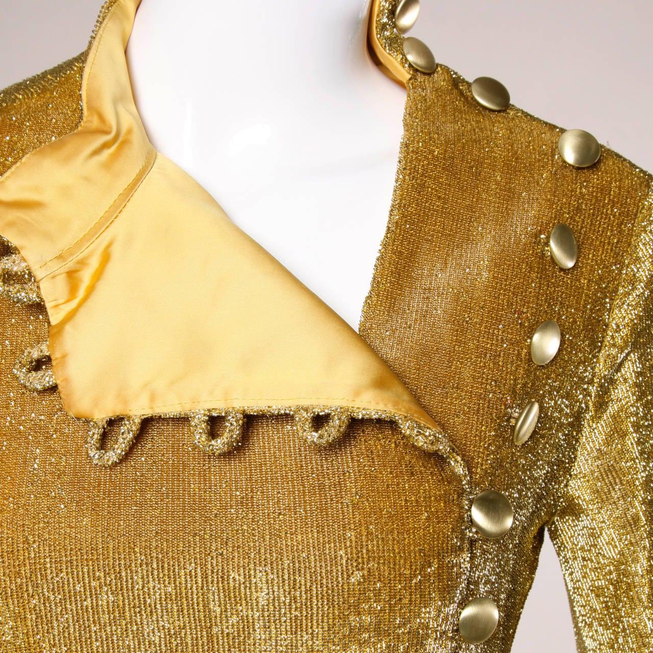 Mr. Mort Vintage 1960s Metallic Gold Lurex Coat Dress For Sale 3
