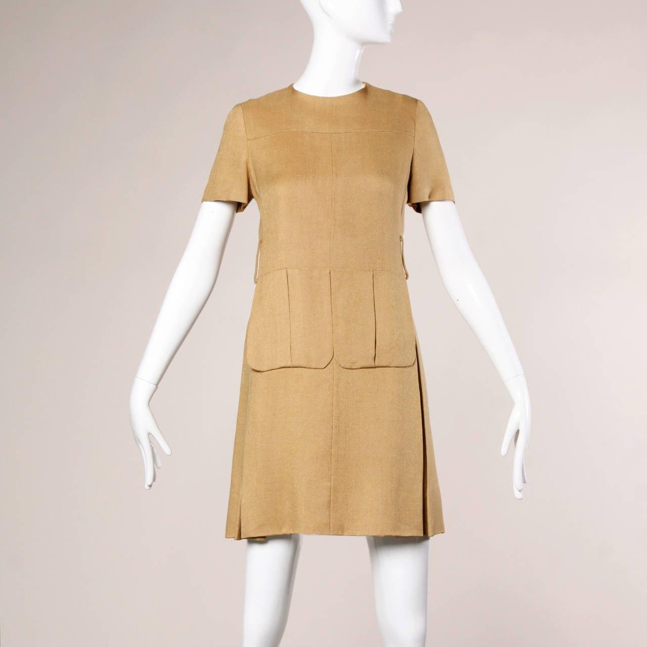 Donald Brooks 1960s Mod Vintage Camel Linen + Silk Dress with Belt For Sale 1