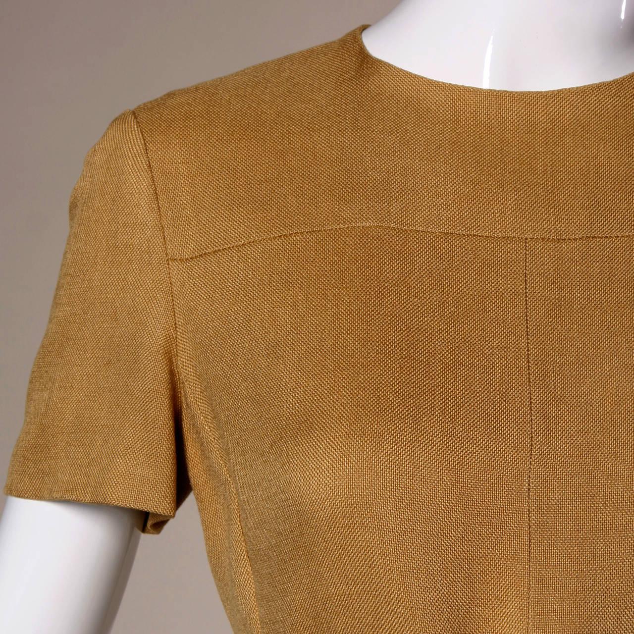 Donald Brooks 1960s Mod Vintage Camel Linen + Silk Dress with Belt For Sale 2