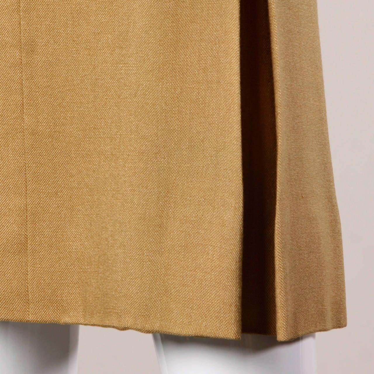 Donald Brooks 1960s Mod Vintage Camel Linen + Silk Dress with Belt For Sale 3