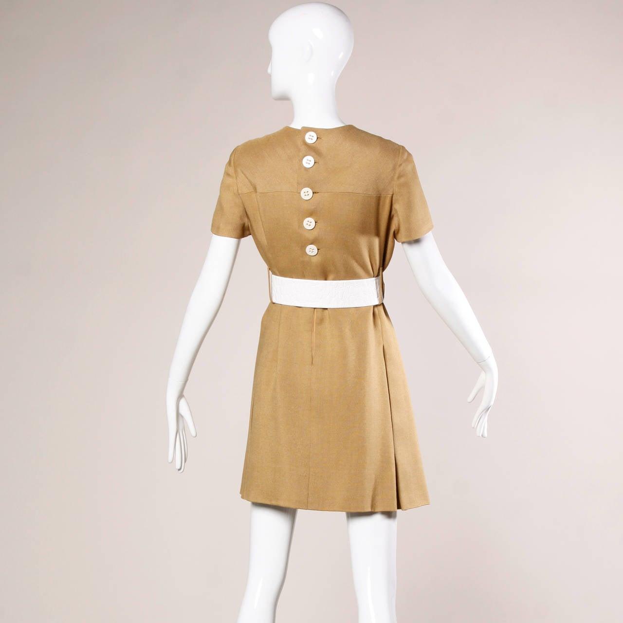 Beige Donald Brooks 1960s Mod Vintage Camel Linen + Silk Dress with Belt For Sale