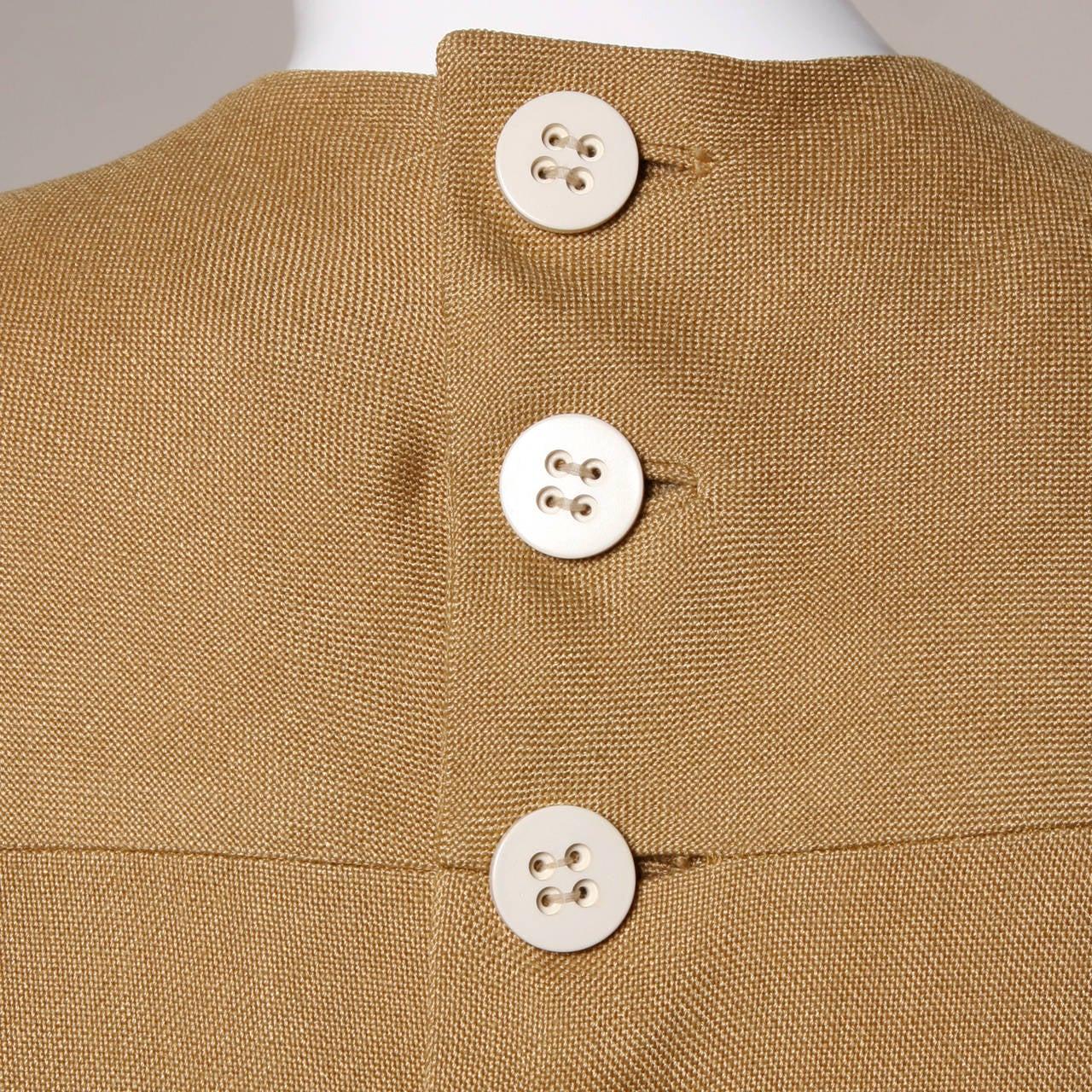 Donald Brooks 1960s Mod Vintage Camel Linen + Silk Dress with Belt For Sale 4