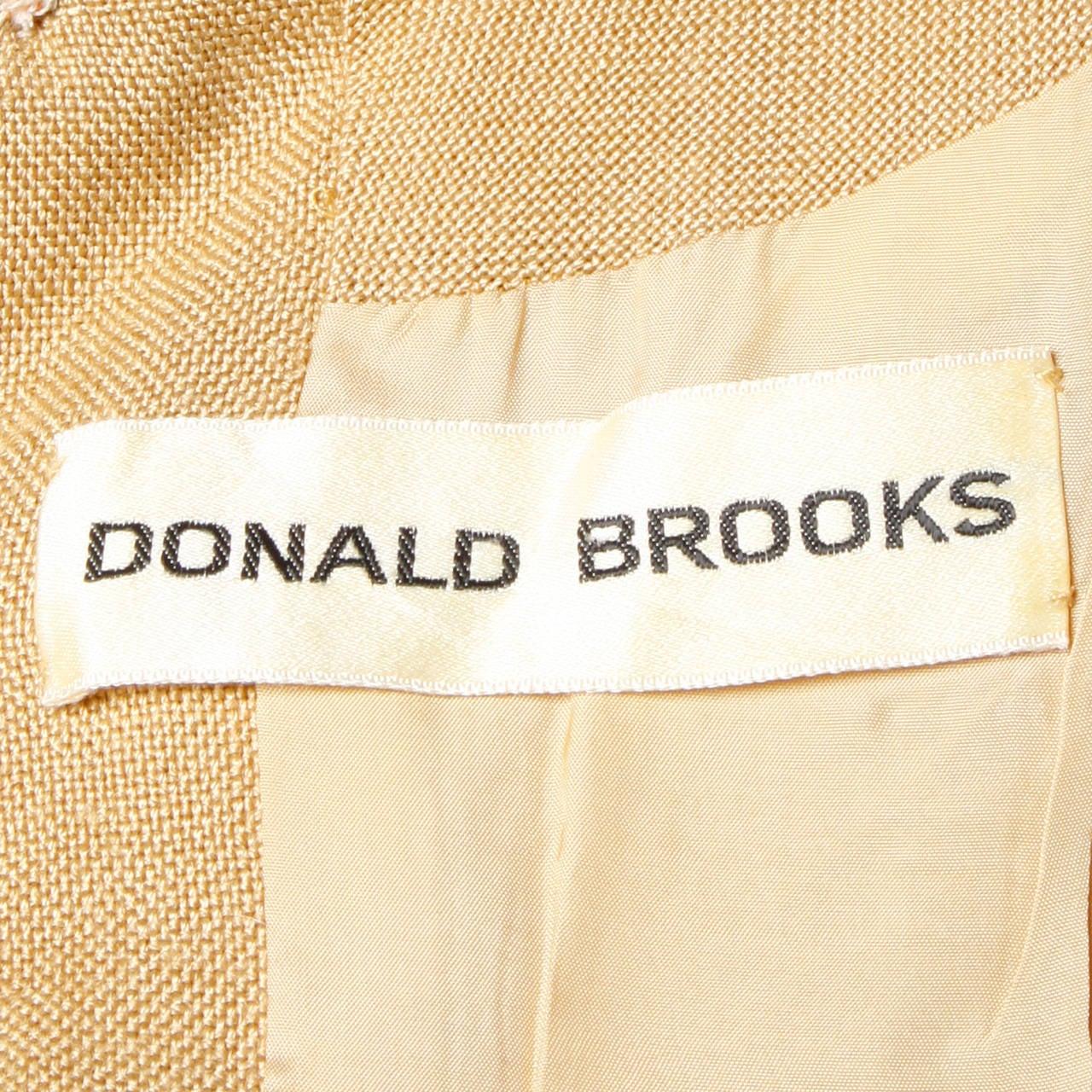 Donald Brooks 1960s Mod Vintage Camel Linen + Silk Dress with Belt In Excellent Condition For Sale In Sparks, NV