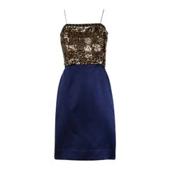 Bill Blass Vintage Metallic Gold & Blue Sequin + Beaded Cocktail Dress