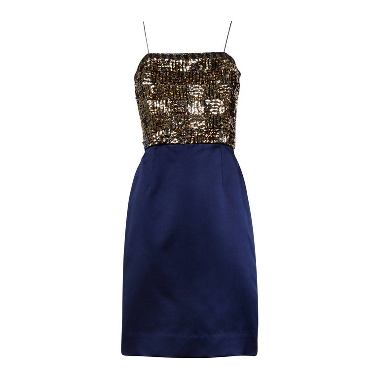 Bill Blass Vintage Metallic Gold & Blue Sequin + Beaded Cocktail Dress For Sale
