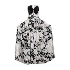 Mignon Vintage Black + White Silk Print Strapless Gown