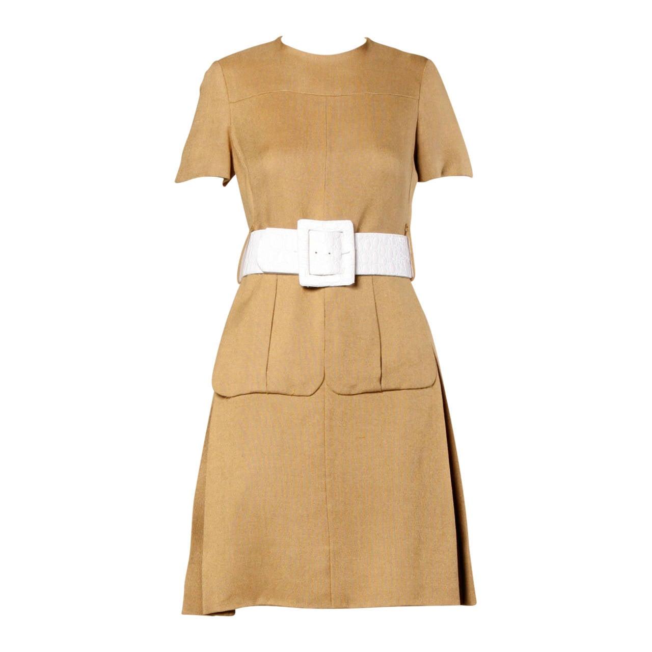 Donald Brooks 1960s Mod Vintage Camel Linen + Silk Dress with Belt