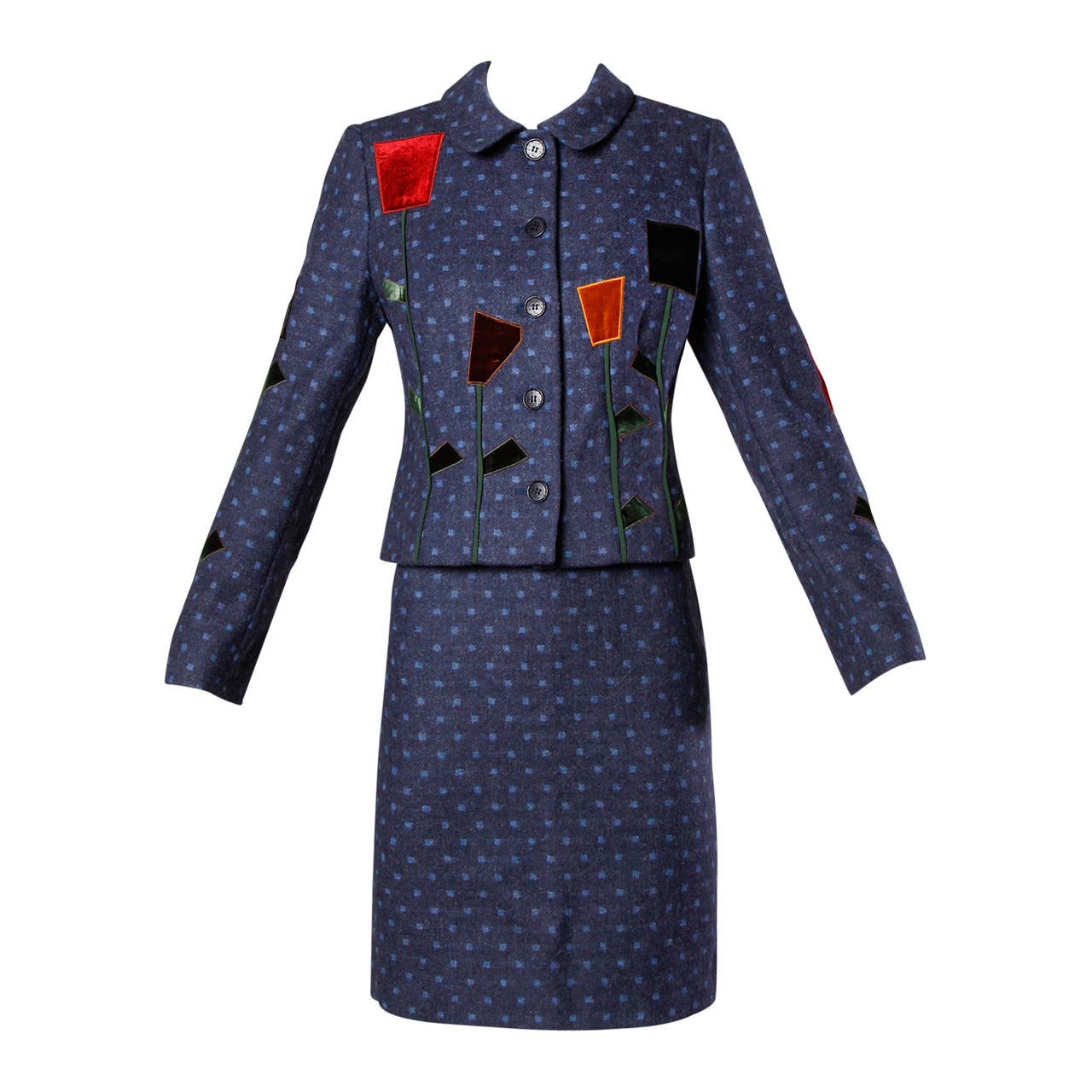 Moschino Vintage 90s Polka Dot Patchwork Skirt + Jacket Suit Ensemble