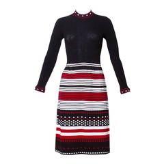 Pat Sandler Vintage 1970s Knit Polka Dot + Striped Dress