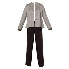 1990s Max Mara Linen/ Silk Jacket + Pants Suit Ensemble